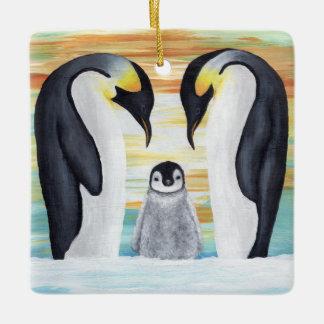 ベビーのペンギンが付いているペンギン家族 セラミックオーナメント