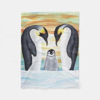 ベビーのペンギンが付いているペンギン家族 フリースブランケット