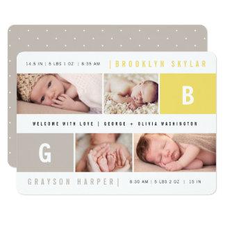 ベビーのモノグラムの男の子の女の子は誕生の発表を結び付けます カード