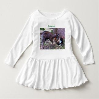 ベビーのヤギおよび猫の幼児の服 ドレス