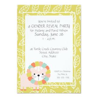 ベビーのライオンの性はパーティの招待状を明らかにします カード