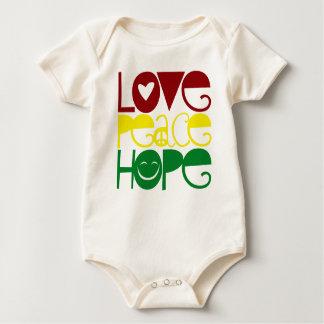 ベビーのワイシャツ、愛平和希望 ベビーボディスーツ