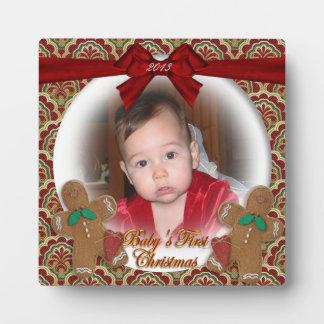 ベビーの初めてのクリスマスのクリスマスの写真のプラク フォトプラーク