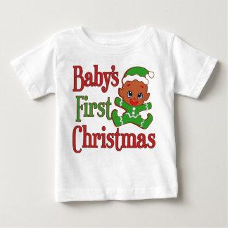 ベビーの初めてのクリスマスのジンジャーブレッドのクッキー ベビーTシャツ