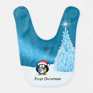 ベビーの初めてのクリスマスのペンギンのよだれかけ ベビービブ