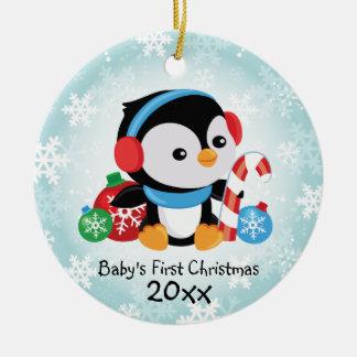 ベビーの初めてのクリスマスのペンギンのオーナメント セラミックオーナメント