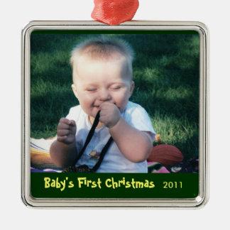 ベビーの初めてのクリスマスの写真のオーナメント メタルオーナメント
