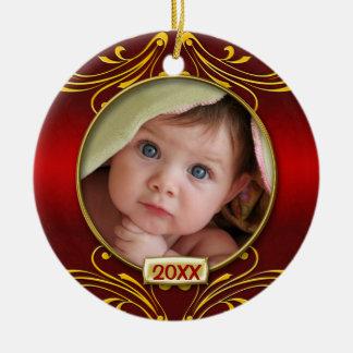 ベビーの初めてのクリスマスの写真フレーム セラミックオーナメント