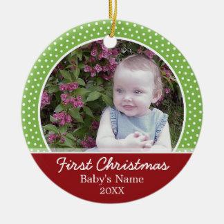 ベビーの初めてのクリスマスの写真-味方される選抜して下さい セラミックオーナメント