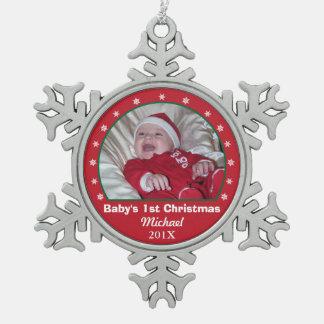 ベビーの初めてのクリスマスの雪片の写真のオーナメント スノーフレークピューターオーナメント