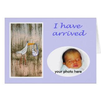 ベビーの到着の発表、こうのとり、カスタムなフレーム カード