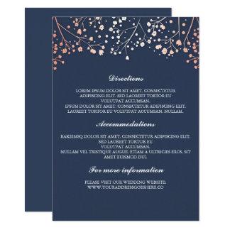 ベビーの呼吸ばら色の金ゴールドおよび海軍結婚式の詳細 カード