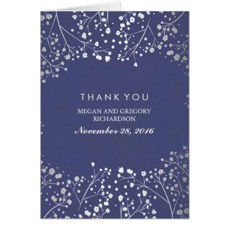 ベビーの呼吸海軍および銀製結婚式は感謝していしています カード