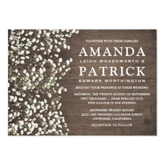 ベビーの呼吸素朴な納屋木結婚式招待状 12.7 X 17.8 インビテーションカード
