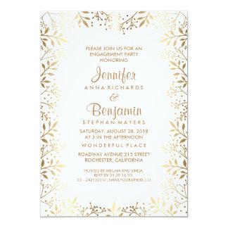 ベビーの呼吸金ゴールドおよび白人の婚約パーティ 12.7 X 17.8 インビテーションカード