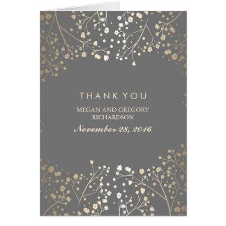 ベビーの呼吸金ゴールドホイルの結婚式は感謝していしています カード
