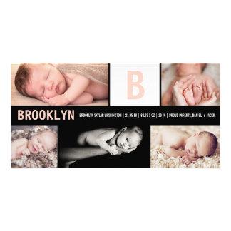 ベビーの大きい最初の数々のな写真の誕生の発表 フォトカードテンプレート