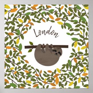 ベビーの怠惰の秋の緑の草木のベビーの子供部屋 ポスター