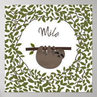 ベビーの怠惰の緑の草木のベビーの子供部屋 ポスター