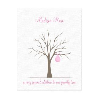 ベビーの指紋の木-ピンク キャンバスプリント