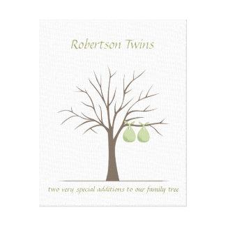 ベビーの指紋の木-双生児 キャンバスプリント