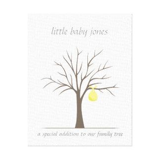 ベビーの指紋の木-黄色 キャンバスプリント
