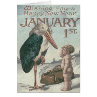 ベビーの新年の天使の天使のこうのとり カード