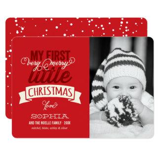 ベビーの最初メリーで小さいクリスマスの写真カード 12.7 X 17.8 インビテーションカード