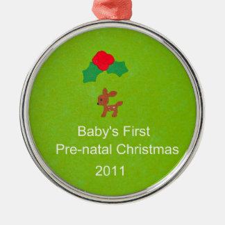 ベビーの最初出生前のクリスマス2011年 メタルオーナメント