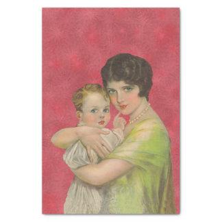 ベビーの母の日を保持しているヴィンテージの30年代の母 薄葉紙