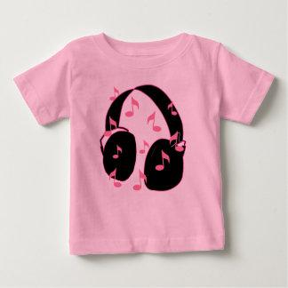 ベビーの石!  音符のピンクのヘッドホーン ベビーTシャツ