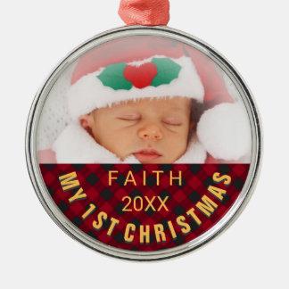 ベビーの第1クリスマスの写真の赤の格子縞 メタルオーナメント