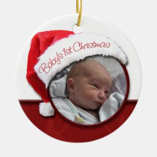 ベビーの第1クリスマス-サンタの帽子の写真のオーナメント セラミックオーナメント