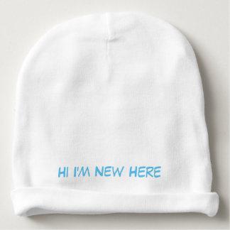 """ベビーの綿の帽子""""新しいHI IMここに"""" ベビービーニー"""
