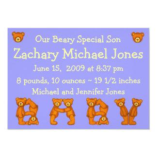 ベビーの誕生のAnnouncements~Bearyスペシャルの息子 カード