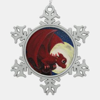 ベビーの赤いドラゴンの雪片のオーナメント スノーフレークピューターオーナメント