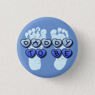 ベビーの足跡の青色児のシャワーボタンがあるお父さん 3.2CM 丸型バッジ