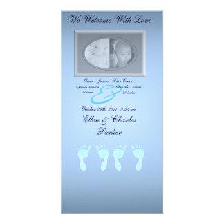 ベビーの足跡(男の子の双生児) カード