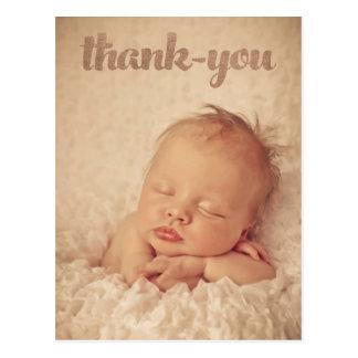 ベビーの青銅は誕生の発表の写真感謝していしています ポストカード