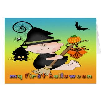 ベビーの魔法使い私の第1ハロウィンの挨拶状 カード