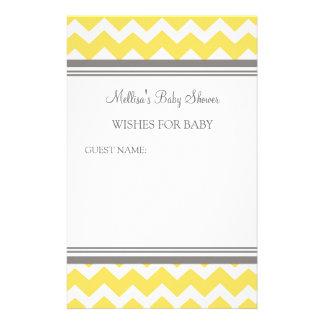 ベビーの黄色シェブロンのためのベビーシャワーのノート 便箋