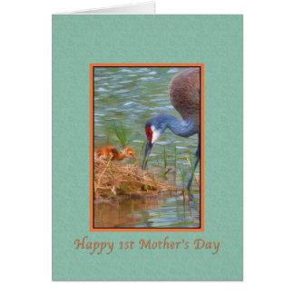 ベビーのSandhill最初母の日、クレーンおよび母 カード