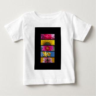 ベビーのTシャツの-ピンク及び黄色いマクロ花 ベビーTシャツ