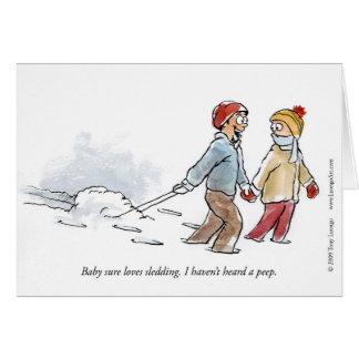 ベビーは挨拶状をSledding愛します カード