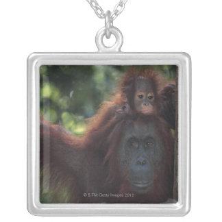 ベビーを持つオランウータンの母 シルバープレートネックレス