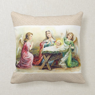 ベビーイエス・キリストおよびメリーを囲むヴィンテージの天使 クッション
