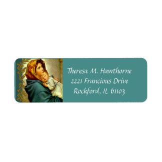 ベビーイエス・キリストを持つ賛美された聖母マリア ラベル