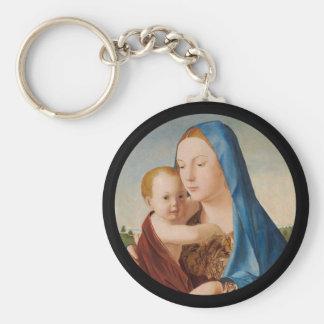 ベビーイエス・キリストを握るメリーのポートレート キーホルダー