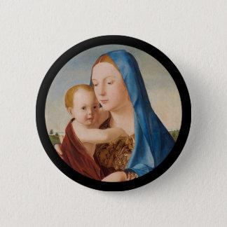 ベビーイエス・キリストを握るメリーのポートレート 5.7CM 丸型バッジ