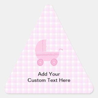 ベビーカー。 ピンクのギンガムで淡いピンク 三角形シール